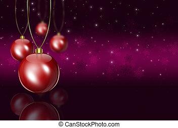 赤, クリスマス, 挨拶, ボール