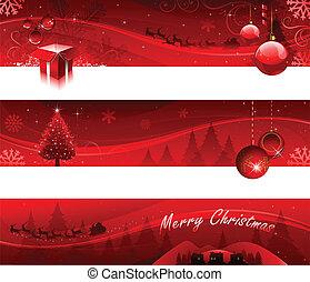 赤, クリスマス, 旗