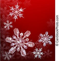 赤, クリスマス, 雪片, 背景