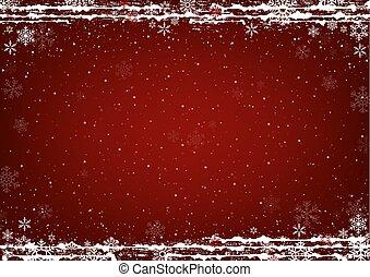 赤, クリスマス, 雪片, 雪, 背景
