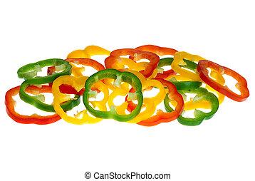赤, コショウ, に薄く切る, 鐘, 緑, 黄色