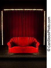 赤, ステージ, ソファー