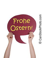 赤, スピーチ, balloon, ∥で∥, ドイツ語, frohe, ostern, 手段, 幸せなイースター