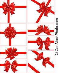 赤, セット, お辞儀をする, 贈り物, ribbons.