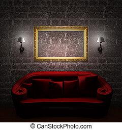 赤, ソファー, ∥で∥, 空のフレーム, そして, sconces, 中に, ミニマリスト, 内部
