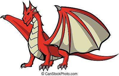 ベクトル 芸術 赤 イラスト ドラゴン かわいい 芸術 イラスト