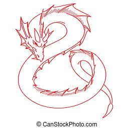 赤, ドラゴン, 入れ墨