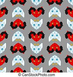 赤, ハロー, パターン, 天使, 手ざわり, seamless., 角, ペット, ねこ, 悪魔, 悪魔, バックグラウンド。, 白, 翼