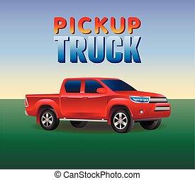 赤, ピックアップ トラック, 自動車, 4x4, 現実的, ベクトル, イラスト