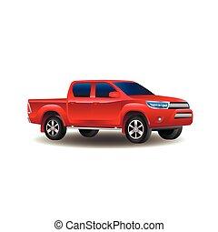 赤, ピックアップ トラック, 4x4, 隔離された, 白, 背景, ベクトル, イラスト
