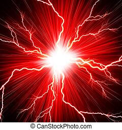赤, フラッシュ, 電気である, 背景, 稲光