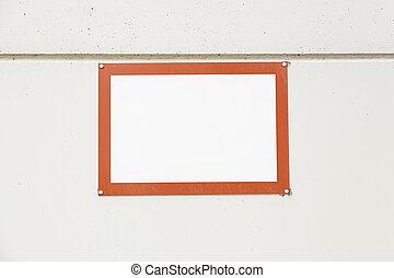 赤, フレーム, 上に, a, 壁