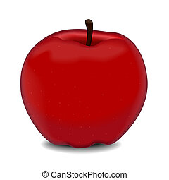 赤, ベクトル, おいしい, アップル