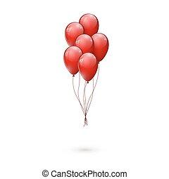 赤, ベクトル, balloons., イラスト, グロッシー