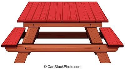 赤, ペイントされた, ピクニックテーブル