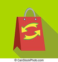 赤, ペーパー買い物袋, ∥で∥, 新たにしなさい, 矢, アイコン