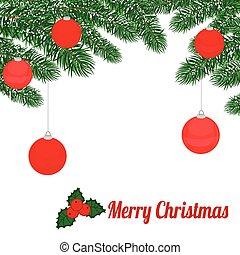 赤, ボール, ブランチ, 松, クリスマス