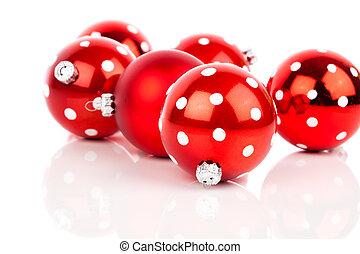 赤, ポルカドット, クリスマス安っぽい飾り, 隔離された, 上に, 白