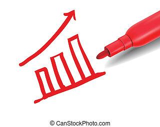 赤, マーカー, グラフィック, 財政