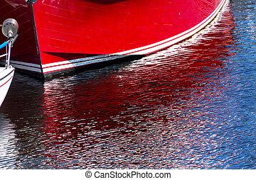 赤, ヨット, 反射, ギグ港, ワシントン州