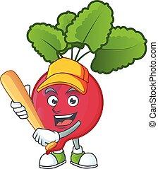 赤, ラディッシュ, 漫画, 微笑, 面白い, マスコット, 野球