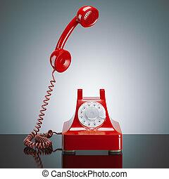 赤, レトロ, 電話。, 3d, レンダリング