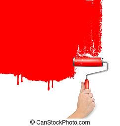 赤, ローラー, 絵, ∥, 白, wall., 背景, vector.