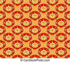 赤, 中国のランタン, seamless, パターン, バックグラウンド。, 伝統的である, ornament.