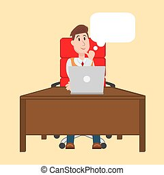 赤, 人, 椅子, テーブル, モデル, ベクトル, イラスト, 考え, コンピュータ, 仕事