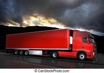赤, 半 トラック, 上に, 道