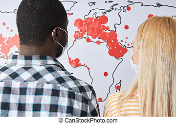 赤, 印, covid-19, 人々, 光景, 地図, 世界, 向けられた, 見る, 後部