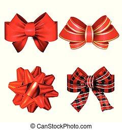 赤, 大きい, お辞儀をする, ベクトル, ribbons., セット, 贈り物