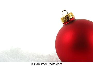 赤, 安っぽい飾り, 中に, ∥, 雪, upclose