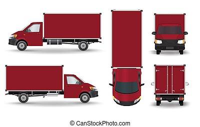赤, 小さい, truck., silhouette.