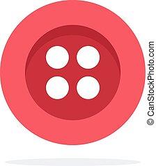 赤, 平ら, 穴, 隔離された, 4, ベクトル, ボタン