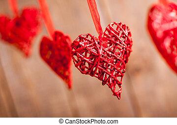 赤, 心, 上に, 木製である, バックグラウンド。, 愛の記号, 中に, バレンタイン, day.