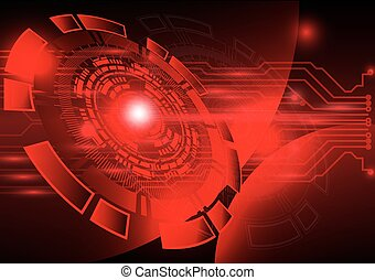 赤, 技術, 背景, 抽象的, デジタル, 技術, 円
