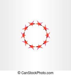 赤, 星, ベクトル, アイコン, 背景, 円, フレーム