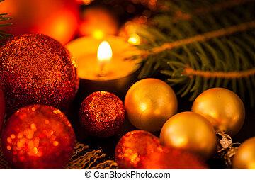 赤, 暖かい, candlel, 金, クリスマス