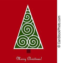 赤, 木, バックグラウンド。, クリスマス