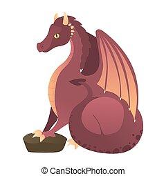 赤, 火呼吸, dragon., ドラゴン, 飛行, 漫画