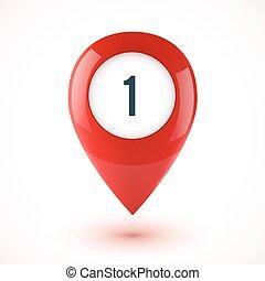 赤, 現実的, 3d, ベクトル, グロッシー, 地図, ポイント, シンボル
