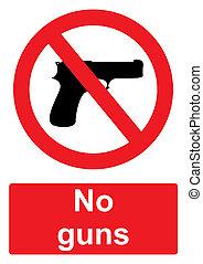 赤, 禁止, 印, 隔離された, 上に, a, 白い背景, -, いいえ, 銃