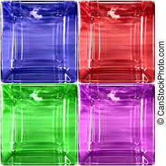 赤, 緑, そして, 紫色, ガラス, 立方体