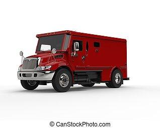 赤, 装甲, 輸送トラック, -, スタジオの 打撃