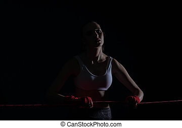 赤, 運動, 戦闘機, 保有物, 線, 強い, 前に, fight., 集中される, 女, ring.