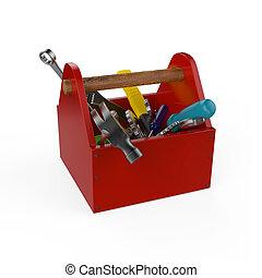 赤, 道具箱, ∥で∥, tools., sckrewdriver, ハンマー, handsaw, そして, wrench., 建設 中, 維持, 苦境, 修理, 優れた, service., 高く, 品質, render, isolated.