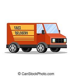 赤, 配達トラック, から, ∥, 交通機関, サービス