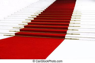 赤, 階段, カーペット
