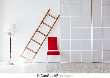 赤, 階段, 内部, 部屋, 白, ランプ, 椅子